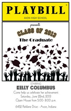 PLAYBILL style graduation invitation theater Broadway NY by itcoa, $1.50
