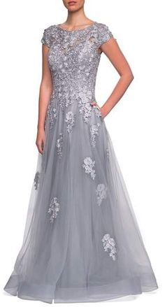 5c8fe23d0b Embellished Mesh A-Line Gown  mesh gauzy gown Mothers Dresses