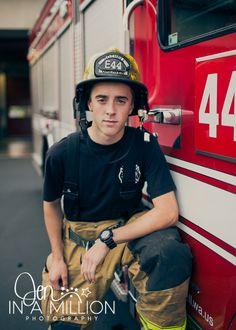Senior boy firefighter session. Fire station session. Jen In A Million Photography