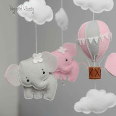 Your place to buy and sell all things handmade Items similar to Elephant Mobile - Hot Air Balloon Mobile - Custom Mobile (not ready made) - Ships in Weeks on Etsy Baby Crafts, Felt Crafts, Diy And Crafts, Baby Shawer, Felt Baby, Baby Kids, Elephant Mobile, Baby Elephant, Elephant Nursery Art