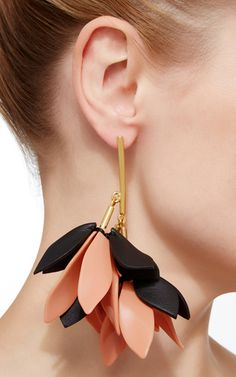 Destinees peach GLASS STONE LONG SEQUIN TASSEL EARRING