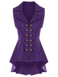 Double Breast Lapel High Low Dressy Waistcoat - PURPLE XL