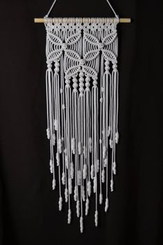 This item is unavailable : Wall panels handmade macramé technique. Dimensions: The length from the wooden plank to the bottom, including the thread - / inches Width - / inches Macrame Design, Macrame Art, Macrame Projects, Macrame Knots, Macrame Wall Hanging Patterns, Macrame Patterns, Art Macramé, Diy Kit, Macrame Plant Holder