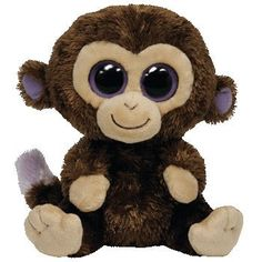 "Ty Beanie Boo's Baby Monkey Purple Eyes ""Coconut"" Brown Stuffed Animal Toy 