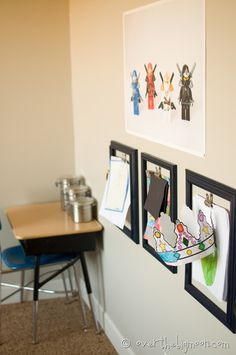 Kids Art Display - I really like this idea. It's not as messy looking as the fridge.