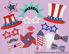 4th of July Photo Booth Props  15 piece Patriotic by FunPhotoProps, $27.95