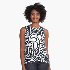 Black Sleeveless Top, Dress Black, White Dress, Designs To Draw, Shades Of Blue, Chiffon Tops, Black And White, White Art, Pink White