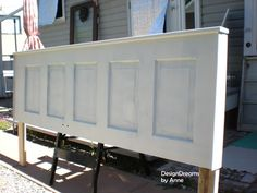 old door repurposed to headboard, bedroom ideas, doors, repurposing upcycling, attached with screws to the back of the door and a few pieces of trim create a nice frame for the new headboard Headboard From Old Door, How To Make Headboard, Headboard Door, Door Bed, Full Headboard, Diy Headboards, Headboard Ideas, Vintage Headboards, Transformers