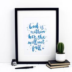 God Is Within Her She Will Not Fall Print by Izzy & Pop, the perfect gift for Explore more unique gifts in our curated marketplace. Super Happy, Christian Gifts, Home Office Decor, Inspirational Gifts, Watercolor Print, Psalm 46, Original Version, Purple, Blue