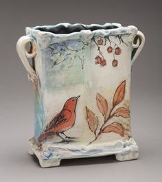 Commissioned Ceramic Art – Laurie Shaman – Famous Last Words Hand Built Pottery, Slab Pottery, Pottery Vase, Ceramic Pottery, Thrown Pottery, Ceramic Mugs, Ceramic Boxes, Glass Ceramic, Porcelain Clay