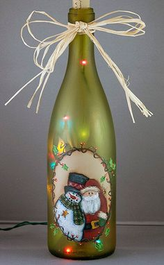 Hand Painted, Snowman & Santa Lighted Bottle ~❥