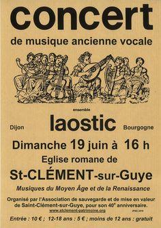 Concert de musique ancienne vocale le 19 juin 2016 à Saint-Clément-sur-Guye : http://clun.yt/1qHzZXe