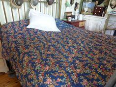 Antique French blue floral patchwork cotton quilt