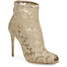 Dolce & Gabbana Lace Peep-Toe Bootie (1,445 CAD) ❤ liked on Polyvore featuring shoes, boots, ankle booties, apparel & accessories, lace bootie, back zip boots, peep-toe ankle booties, ankle boots and lace peep toe booties
