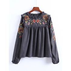 SheIn(sheinside) Frill Detail Embroidery Blouse (€17) ❤ liked on Polyvore featuring tops, blouses, grey, flutter sleeve blouse, gray blouse, floral blouse, floral tops and ruffle sleeve top