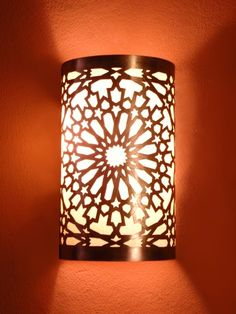 Moroccan brass Wall Light (Sold by two), Wall Sconce, fine chiselled rose pattern, Moroccan Arts and Crafts, Moroccan design