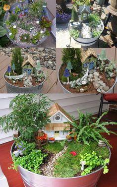 Wash Tub Fairy Gardens