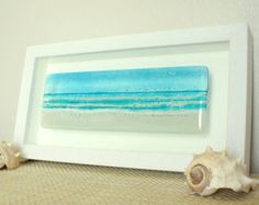 Turquoise Long Beach in a Box - Panoramic Seaside Glass Framed Picture - landscape fused glass wall art