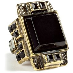 EMILIO PUCCI Brass Onyx Ring ($234) ❤ liked on Polyvore featuring jewelry, rings, accessories, black, biżuteria, art deco ring, black onyx ring, egyptian jewelry, cocktail rings and black cocktail ring