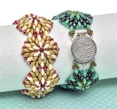 "Top 10 beading patterns 2014 | Michelle Heim's ""Kaleidoscope contours"" bracelet features one of the year's hottest beads – the SuperDuo. The mandala shape has been popular this year and it works up beautifully with the two-hole Supers."