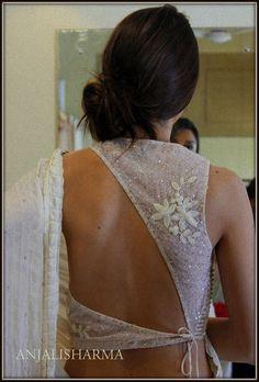 Photo of Bridal Wear - Anjali Sharma from French Curve via WedMeGood Blouse Back Neck Designs, Choli Designs, Fancy Blouse Designs, Shagun Blouse Designs, Indian Blouse Designs, Indian Designer Outfits, Indian Outfits, Indian Dresses, Stylish Blouse Design