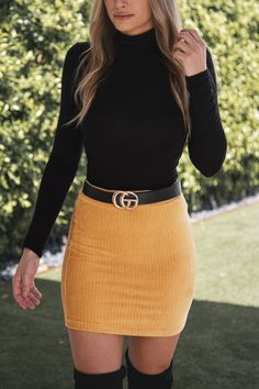 Talk to me mustard mini skirt by priceless. The best selling skirts for fall are back in more colors! This mini skirt outfit is perfect for date night Yellow Skirt Outfits, Jean Skirt Outfits, Winter Skirt Outfit, Women's Skirts Outfits, Black Mini Skirt Outfit, Jean Skirts, Summer Outfit, Classy Fall Outfits, Casual Outfits
