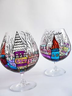 Large Candle Holder, Painted Glass, Large Brandy Glass, Custom Glassware, Candle Holder Glass, Snifter Glasses