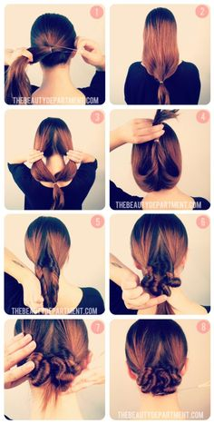 DIY hair bun, hairstyle