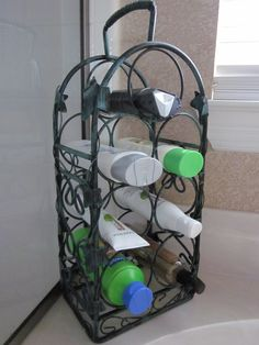 Use a wine rack to hold your bath items.