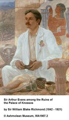 British archaeologist Sir Arthur Evans, Keeper of the Ashmolean Museum in Oxford UK, 1884-1908.  Evans is best known for his excavation of the palace of Minos at Knossos and his work on Minoan civilisation. This portrait, painted by Sir William Blake Richmond, was painted in the year before Evans' retirement from the Ashmolean. It depicts him against a background of Minoan stonework and hills covered in olive trees, under the strong sunlight of Crete.