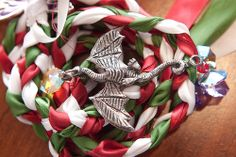 Red, white, and green handfasting cords Medieval Wedding, Celtic Wedding, Our Wedding, Dream Wedding, Wedding Stuff, Wedding Gowns, Wedding Ideas, Handfasting Cords, Enchanted Forest Wedding