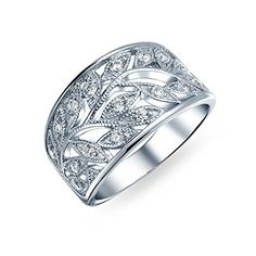 Bling Jewelry Milgrain Style CZ Leaves Band Leaf Ring 925... Diamond Buying guide diamondproguide.com