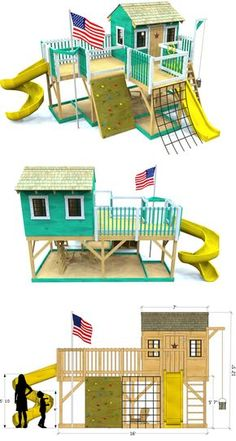 A large, 2 level play area play-set kids can really run and play on.  Lots of room for cool accessories as well.