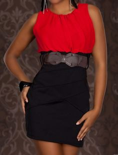 Vestido Elba, con la parte superior de gasa en color rojo.