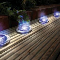 Solar Powered Stainless Steel Blue Deck Lights