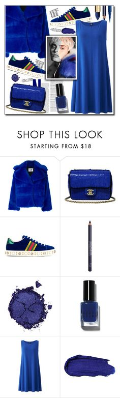 """Singing the Blues"" by ellapriceless ❤ liked on Polyvore featuring MSGM, Chanel, Gucci, MAKE UP FOR EVER, Pat McGrath, Bobbi Brown Cosmetics, Uniqlo, NYX, monochrome and blues"
