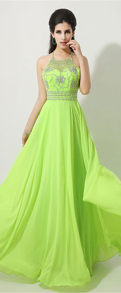 In Stock Fabulous Chiffon Halter Neckline A-line Prom Dresses With Beadings & Rhinestones