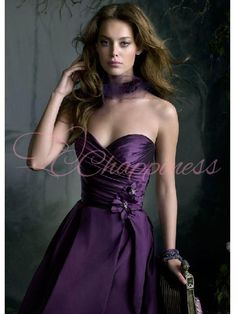 Eggplant Colored Dresses | Bridesmaid Dresses Eggplant Silky Taffeta Strapless Neckline ...