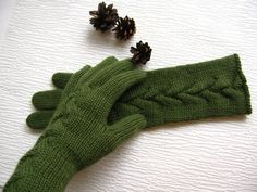 Women's long gloves Knit 100% pure wool Hand knitted by SityFox