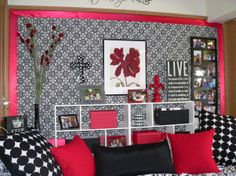 Giftwrap 'wallpaper' (super cute idea to do behind your headboard (and Ashlyn can do this with her fabric she bought) ?
