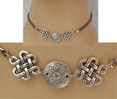 Silver Celtic Knot Choker Necklace Handmade Adjustable Gray accessories NEW #Handmade #Choker