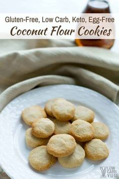 Easy to make no egg cookies made low carb and gluten free. These coconut flour cookies are a simple treat that take little time to prepare. Keto Bread Coconut Flour, Coconut Flour Cakes, Flours Banana Bread, Coconut Flour Recipes, Almond Recipes, Keto Recipes, Lunch Recipes, Healthy Recipes, Honey Bread