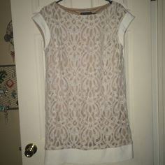 Jessica Howard lace dress Lace and cream dress with white trim detail. Perfect for bridal shower. Amazing condition. Size 14, fits more like a 12  Jessica Howard Dresses Midi