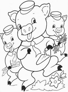 The three little pigs worked on building their houses