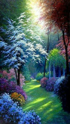 Art Discover Diy Diamond Painting Cross Stitch Tropical Forest Scenery Square Diamond Rhinestones Pasted Home Decoration Painting Beautiful Nature Wallpaper, Beautiful Landscapes, Beautiful Gardens, Beautiful Flowers, Beautiful Places, Beautiful Pictures, Beautiful Scenery, Beautiful Paintings Of Nature, Beautiful Gorgeous