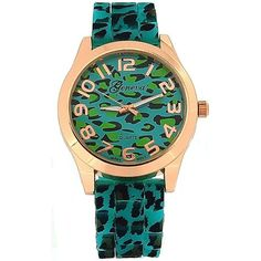 Ladies Turquoise/Aqua Rose Gold Leopard Print Silicone Fashion Watch GE0641A