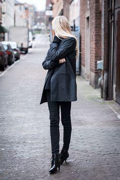 Black Knit, Grey Blazer, Black Skinny Jeans, Black Ankle Boots.