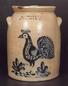 Marked C.W. Braun, Buffalo, N.Y., the 4-gallon crock with bold rooster decoration brought $18,400.