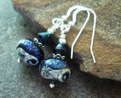 Handcrafted Jewelry, Lampwork Earrings, Ocean Waves, Artisan Glass Lampwork Beads, Sterling Silver
