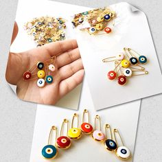 Gold evil eye safety pins Available at various colors❤️
